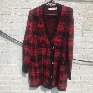Zara Black and Red Plaid Cardgian Sweater Coat